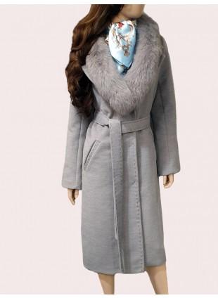 Mantel mit abnehmbarem Pelzkragen