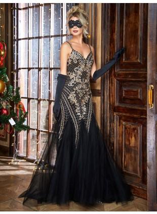 Abendkleid in schwarz- Gold