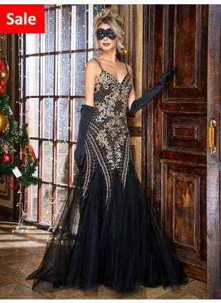 Abendkleider in schwarz- Gold