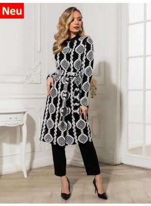 Long-Cardigan in Schwarz-Weiß