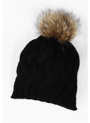 Damen Wollmütze mit Fell-Bommel aus echtem Pelz