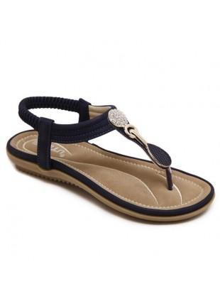 Flache Strass Sandaletten