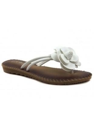 Flache Sandaleten mit Blümchen-Applikation